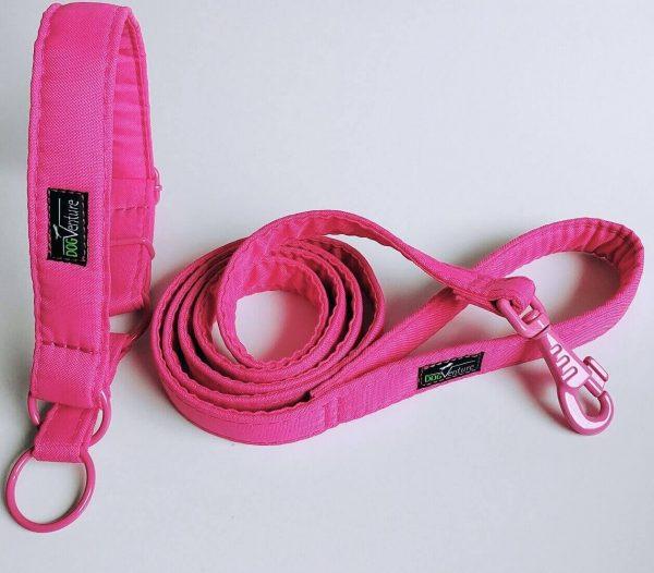 Zestaw smycz i obroża na spacer Just Pink