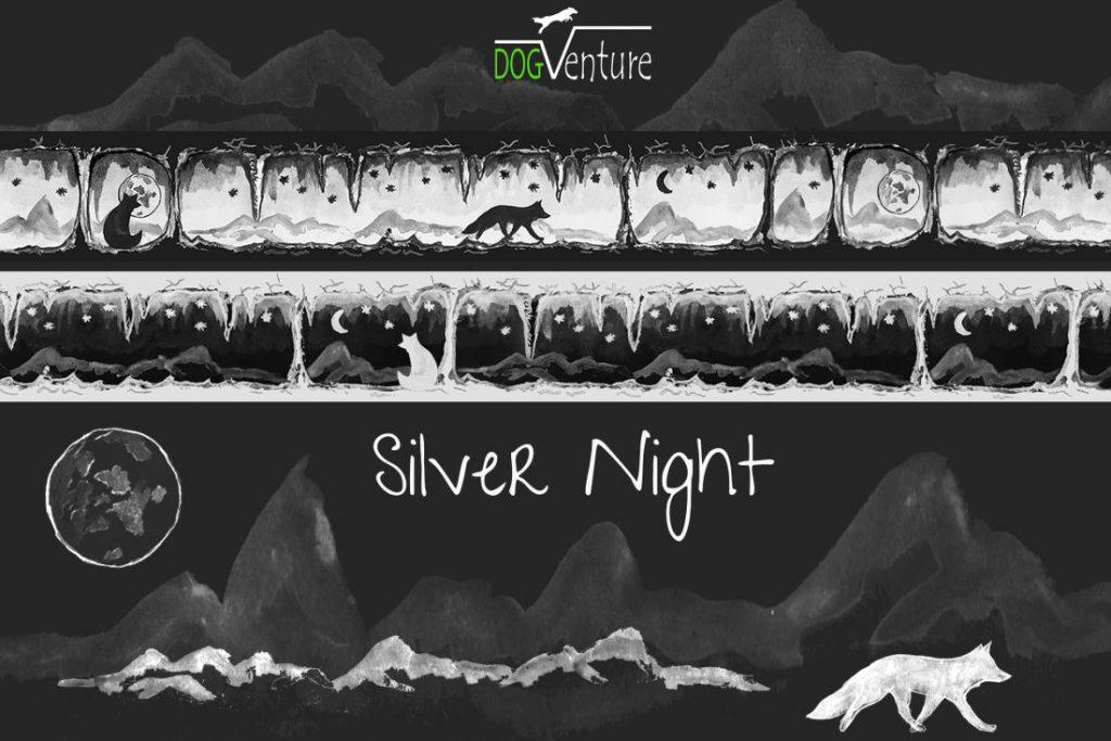 Szelki smycz i obroża Silver Night