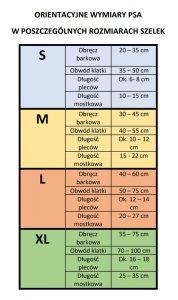 Szelki Guard tabela rozmiarów